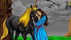 Раскраска: Девочка и Единорог…