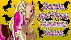 Раскраска: Барби с конем